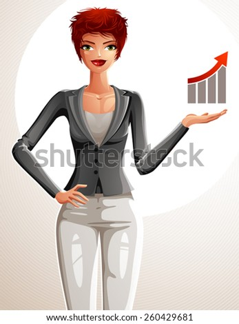 Attractive businesswoman full body portrait. Young red-haired female executive with her hand holding on a waist and showing at some finance graph with a growth arrow. - stock vector