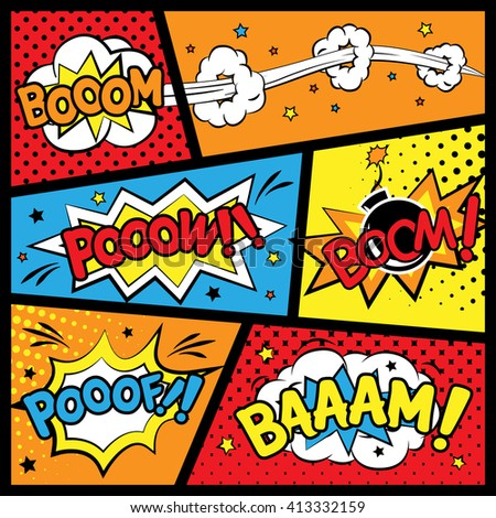 attractive comic sound effect set isolated on colorful comic strip template - stock vector