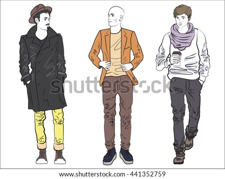 Attractive fashionable man set in fashion clothes. Fashionable street man models. Man guy fashion dress, man street fashion dress style, fashion man models sketch color line drawing, man shop vogue - stock vector