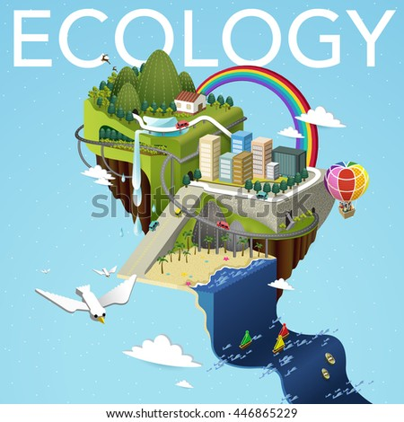 attractive flat 3d isometric design - ecology concept
