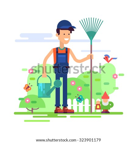 Attractive gardener man standing in garden in coverall with rake and watering can. Modern male character - young farmer friendly smiling. Stock vector illustration in flat design. - stock vector