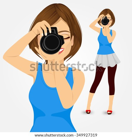 attractive happy young photographer woman taking photos using her digital reflex camera - stock vector
