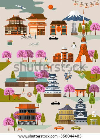 attractive Japan travel ad poster with sakura and attractions