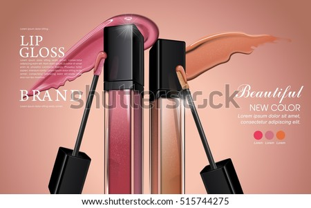 Attractive lip gloss ads, sticky and glossy liquid texture with transparent glass container in 3d illustration