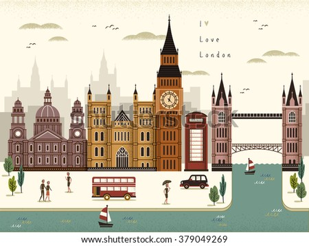 attractive London travel scenery illustration in flat style  - stock vector
