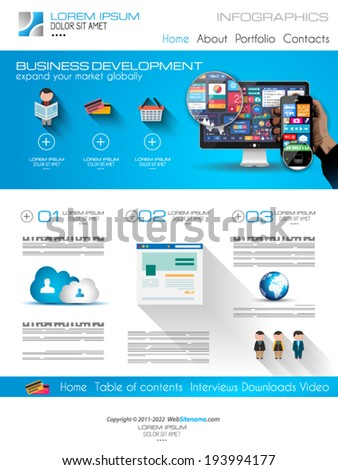 home business layout attractive modern web template flat ui stock vector 193994177