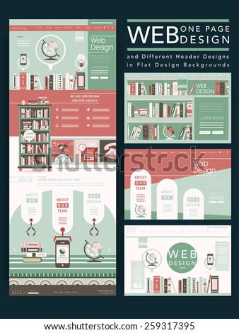attractive one page website design template with books element - stock vector