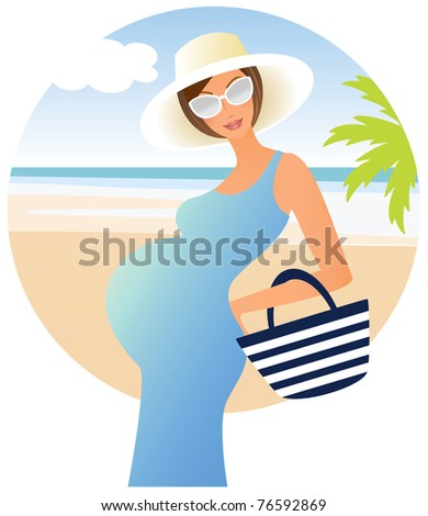 Attractive pregnant woman having holiday on the beach