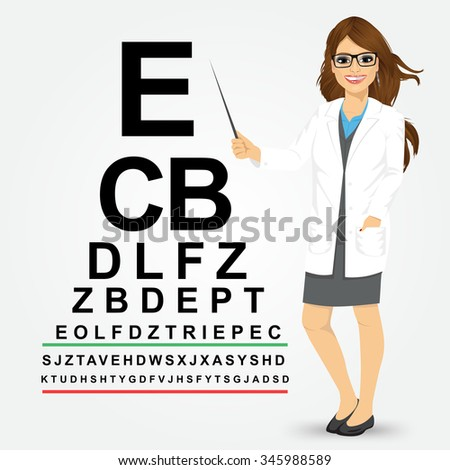Attractive professional female optician pointing to snellen chart isolated on white background - stock vector