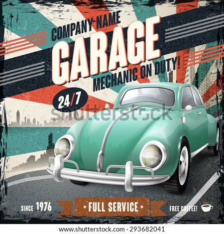 attractive retro car design poster with vintage background - stock vector