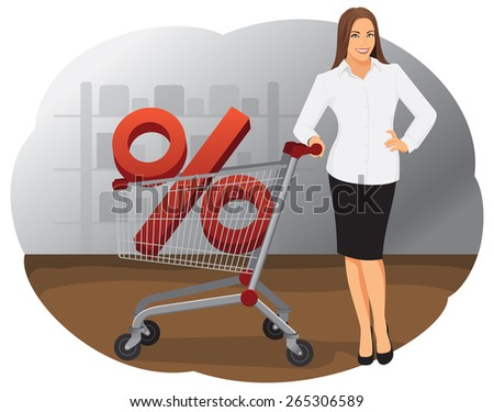 Attractive smiling business woman is standing with shopping cart and percentage sign - stock vector