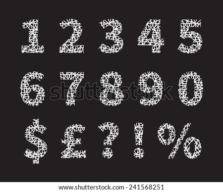 Attractive White Crossed Font Number and Symbol Designs and Gray Background. - stock vector