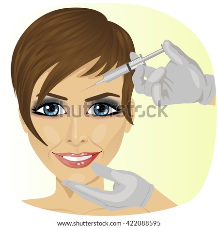 Attractive woman at plastic surgery with syringe in her face - stock vector