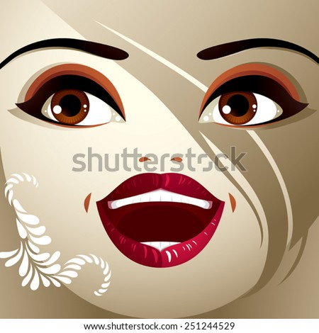Attractive woman with stylish bright make-up and contemporary hairstyle. Sexy Caucasian tricky lady. Decorative portrait. - stock vector