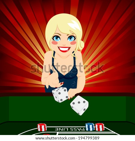 Attractive young blonde woman on casino playing craps throwing dice - stock vector