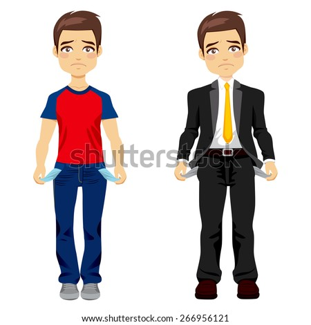 Attractive young man in two different outfit styles showing empty pockets concept - stock vector