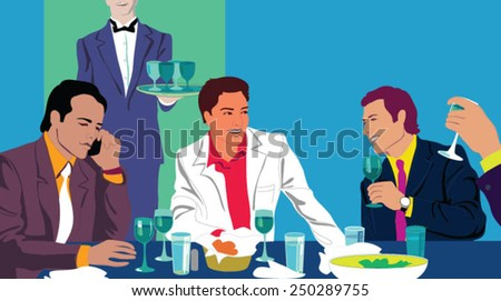 Attractive young people smiling, drinking and having fun. - stock vector