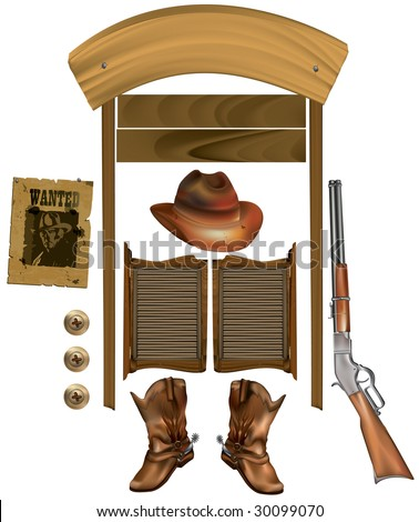 attributes of the wild west - stock vector