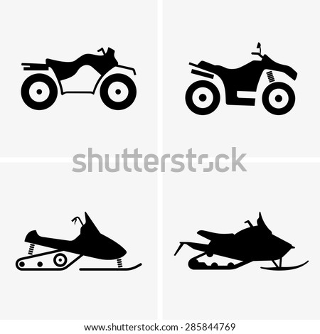 ATV and Snowmobile - stock vector