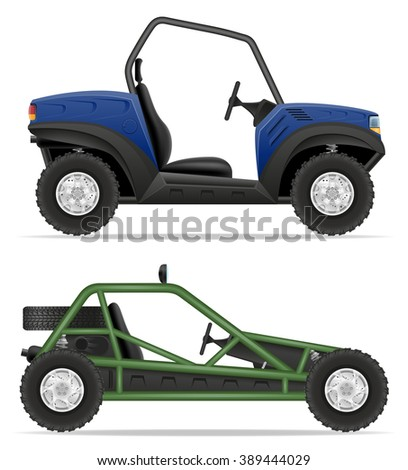 atv car buggy off roads vector illustration isolated on white background - stock vector