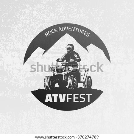 ATV emblem on grunge grey background. All-terrain vehicle off-road design elements. - stock vector