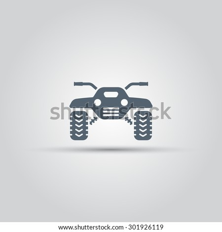 ATV front view isolated vector icon, off-road motorcycles sign - stock vector