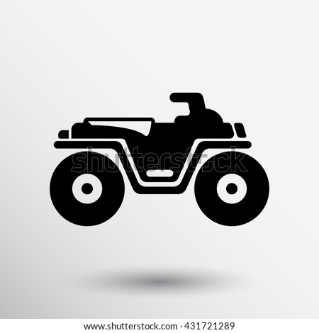 ATV front view isolated vector icon off-road motorcycles sign. - stock vector