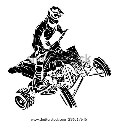 ATV moto rider - stock vector