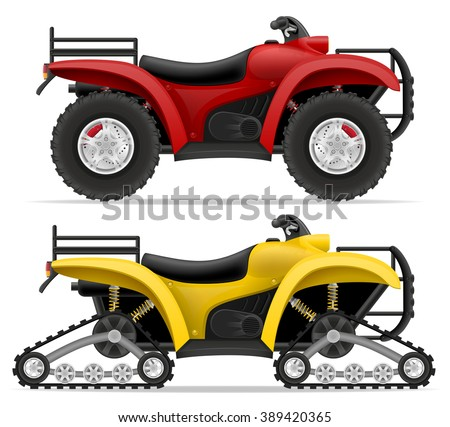 atv motorcycle on four wheels and trucks off roads vector illustration isolated on white background - stock vector