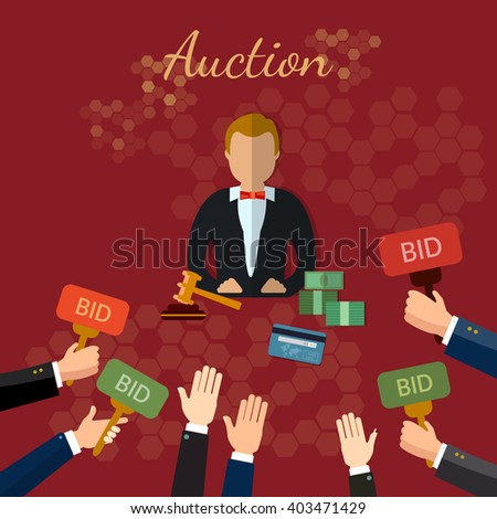 Auction and bidding concept vector illustration - stock vector
