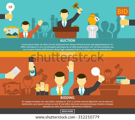 Auction and bidding horizontal banners set with hands and money flat isolated vector illustration  - stock vector