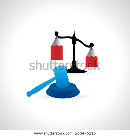 auction and hammer with scale and pencil vector illustration - stock vector