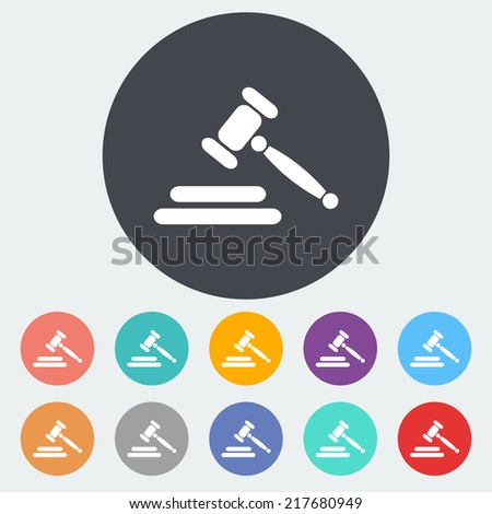 Auction gavel. Single flat icon on the circle. Vector illustration. - stock vector