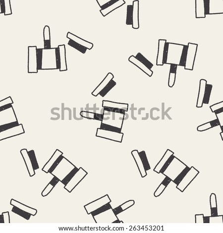 Auction hammer doodle drawing seamless pattern background - stock vector