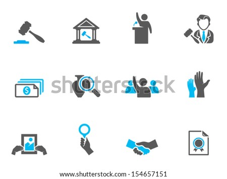 Auction icons in duo tone colors - stock vector