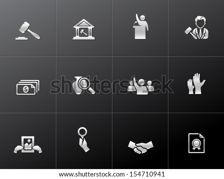 Auction icons in metallic style - stock vector