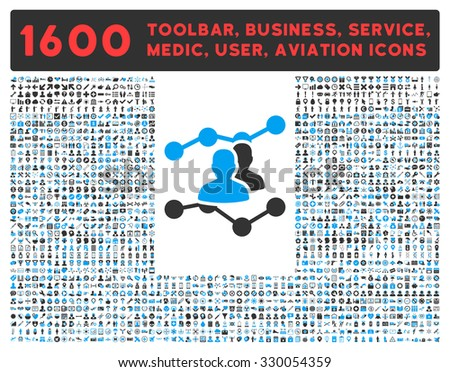 Audience Trends vector icon and 1600 other business, service tools, medical care, software toolbar, web interface pictograms. Style is bicolor flat symbols, blue and gray colors, rounded angles, white - stock vector