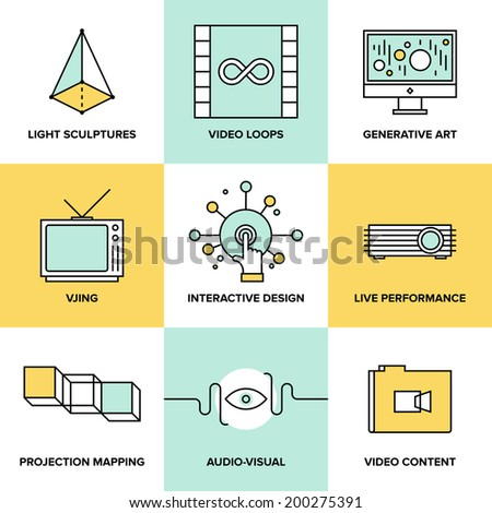 Audio and creative design process, video projection mapping, vjing and generative art, interactive and live performance concept. Flat line icons modern style vector illustration set. - stock vector