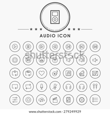 audio and music line icons with circle button - stock vector
