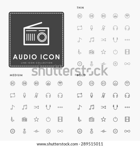 audio and music on thin, medium and bold minimal line icons concept - stock vector