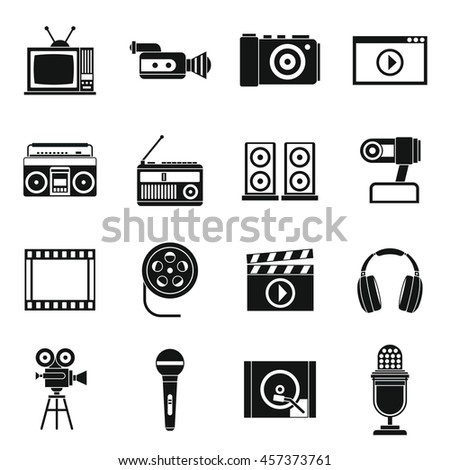 Audio and video icons set in simple style. Multimedia set collection vector illustration
