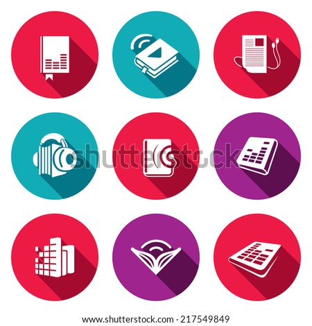 Audio book flat icons set - stock vector