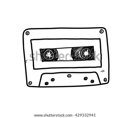Audio Cassette, a hand drawn vector doodle illustration of an audio cassette. - stock vector