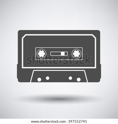 Audio cassette  icon on gray background with round shadow. Vector illustration. - stock vector