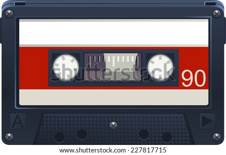 Audio Cassette Retro Tape Recorder, minutes vector illustration cartoon. - stock vector