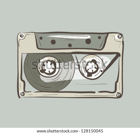 Audio Cassette Sketch Colored - stock vector