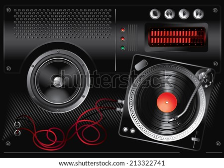 Audio device & turntable - modern music design - stock vector