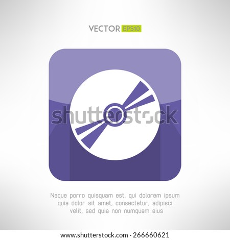 Audio disk icon im modern flat design. Musical cd with long shadow symbol. Vector illustration - stock vector