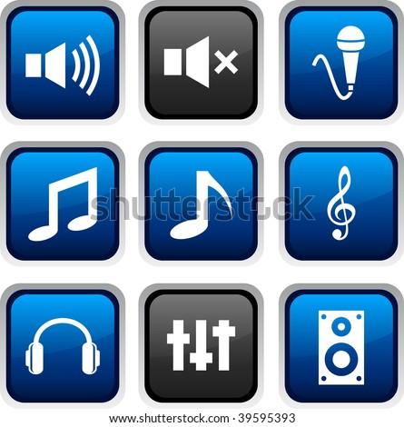 Audio icon set. Vector illustration. - stock vector