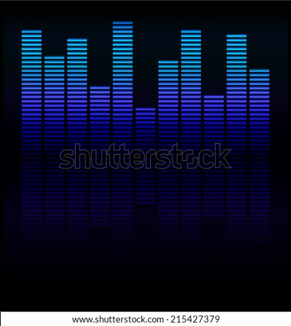 Audio level blue LED from Music Studio with reflection Vector. Color scale equalizer Vector. Music decibel Vector.  - stock vector